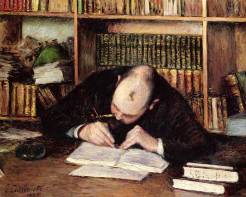 Gustave Caillebotte. Portrait of a man writing in his study