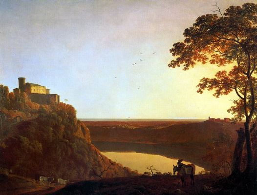 Joseph Wright. View of lake Nemi at sunset
