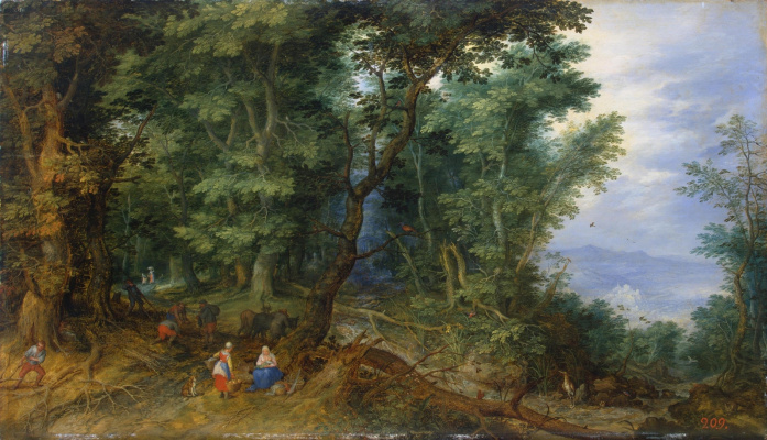 Jan Bruegel The Elder. Forest landscape with a rest on the way to Egypt