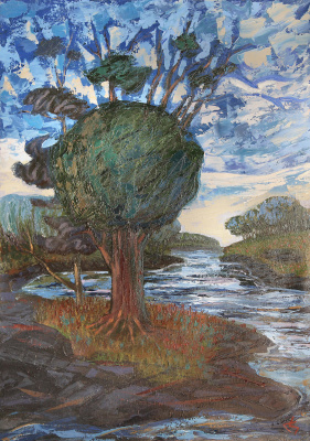 Сергей Николаевич Симкин. Landscape with a tree_ Heavenly and Earthly energetics of connection