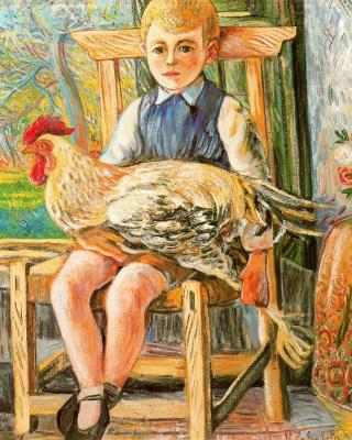 Рафаэль Сабалета. Мальчик сидит с курицей на коленях