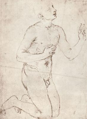 Raphael Santi. Study of Nude kneeling men