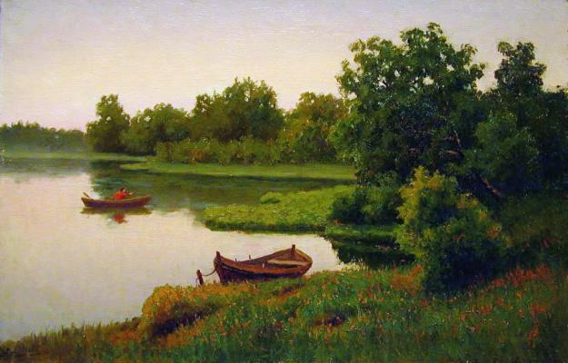Ефим Ефимович Волков. Летний пейзаж с рыбачком
