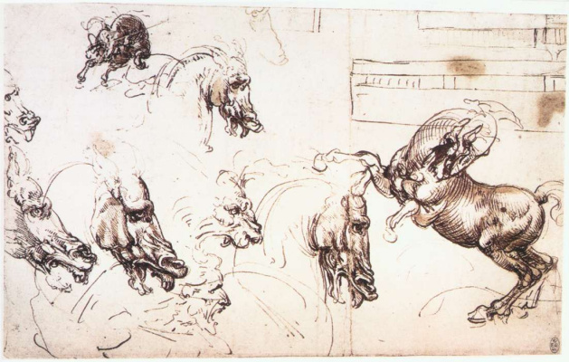 "Leonardo da Vinci. Sketches of horses for the ""battle of Anghiari"""