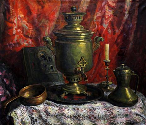 Евгений НиколаевичТрошев. Самовар на красном фоне. 1996