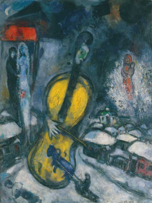 Marc Chagall. The cello and the village