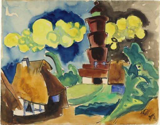 Karl Schmidt-Rottluff. Landscape with lighthouse