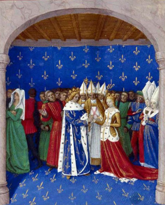 "Jean Fouquet. Marriage of Charles IV and Marie of Luxembourg, on 21 September 1322. The thumbnail to the ""Large French Chronicles"""
