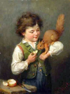 Henry Hirth. Boy with a squirrel