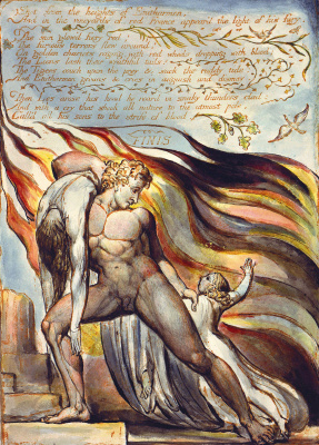 "William Blake. Salvation from the flames. Illustration for the poem ""Europe: a prophecy"""
