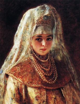 "Konstantin Makovsky. The boyar's daughter. Study for the painting ""sprinkle."""
