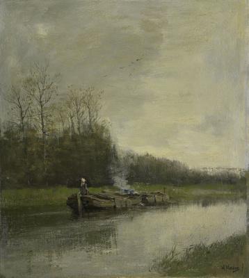Антон Мауве. Лодки на реке
