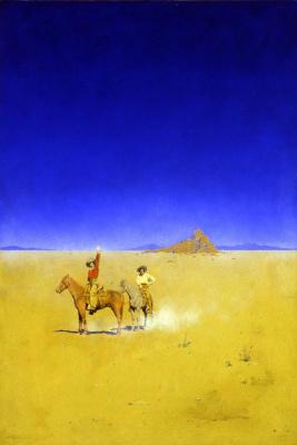 Максфилд Пэрриш. Два всадника в пустыне