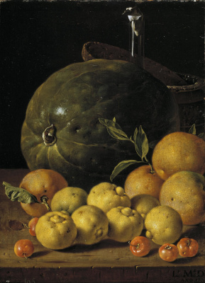 Luis Melendez. Still life with limes, oranges, Barbados cherries and watermelon