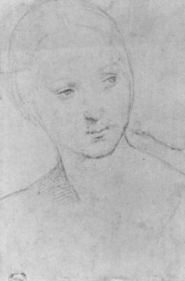 """Рафаэль Санти. Портрет молодой женщины. Эскиз для """"Обручение Девы Марии"""""""