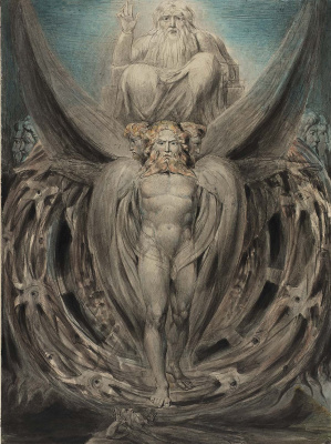 William Blake. Illustrations of the Bible. The whirlwind: Ezekiel's vision of the cherubim and eyes