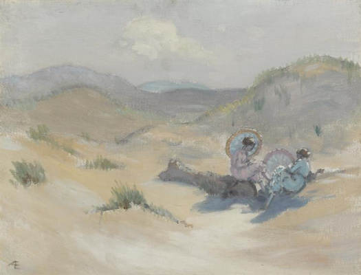 Джордж Уильям Расселл. Две женщины с зонтами на пляже