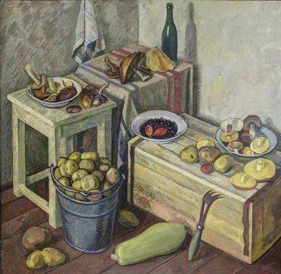 Eugene Alexandrovich Kazantsev. Still life potatoes, mushrooms.