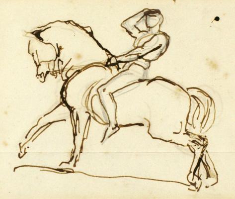 Джордж Фредерик Уоттс. Набросок всадника и коня для «Физической энергии»