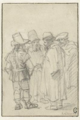 Рембрандт Харменс ван Рейн. Четверо стоящих мужчин в шапках