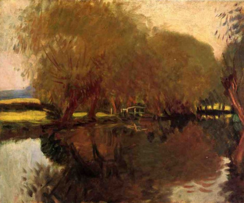 John Singer Sargent. Backwater in Calcote, reading