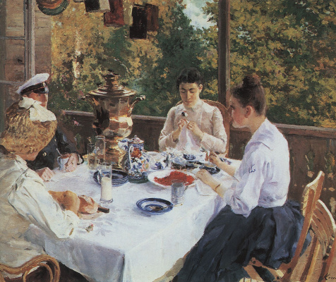 Konstantin Alekseevich Korovin. At the tea table