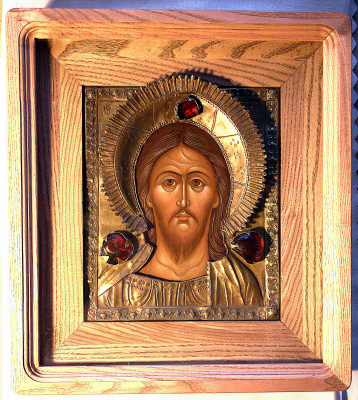 Moscow Icon Painting Workshop. The Savior, the Almighty in oklad 19th century