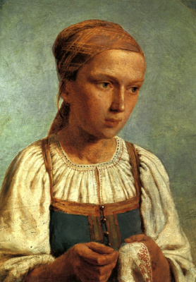 Алексей Гаврилович Венецианов. Крестьянская девушка за вышиванием