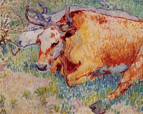 Mikhail Larionov. Oxen on holiday