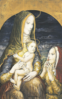 Цугухару Фудзита ( Леонар Фужита ). Мадонна с младенцем и женской фигурой