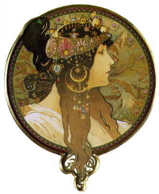 Alfons Mucha. Head of visentini: Brunette