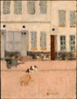 Deserted street and dog