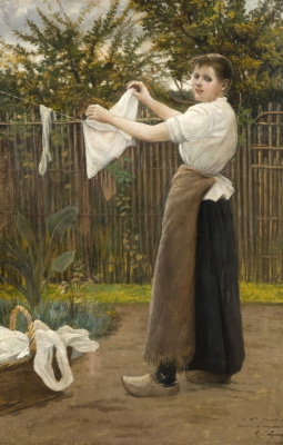 Albert Lynch 1851-1912 Peruvian artist. Girl hanging clothes in the garden
