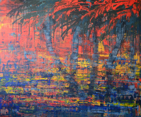 "Tanya Vasilenko. ""Tropical sunset"", acrylic on canvas. The Tropical sunset. Acrylic on canvas."
