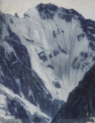 """Vasily Ivanovich Surikov. Snow-capped mountains. A sketch for the painting """"Suvorov crossing the Alps"""""""