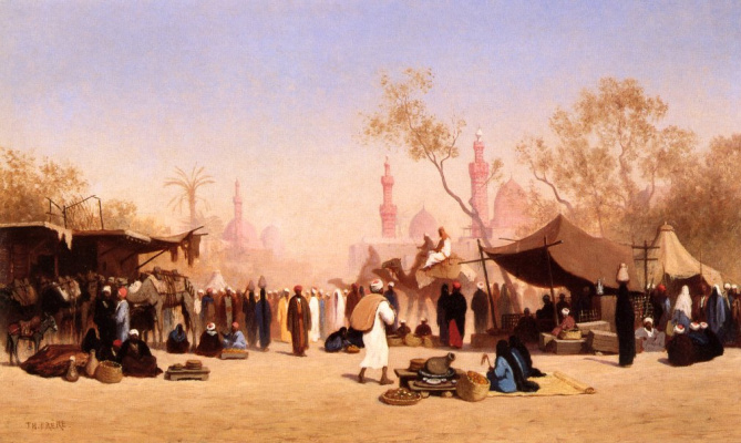 Karl Theodor Frer. Marketplace in Cairo