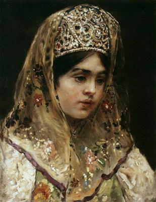 Константин Егорович Маковский. Портрет девушки в русском костюме