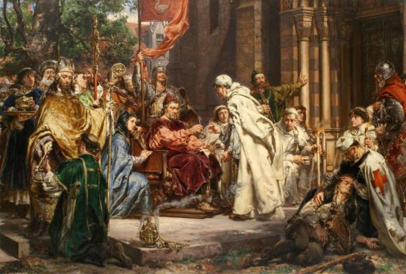 Jan Matejko. Petr Ulastovich Dunin invites the Cistercians to Poland