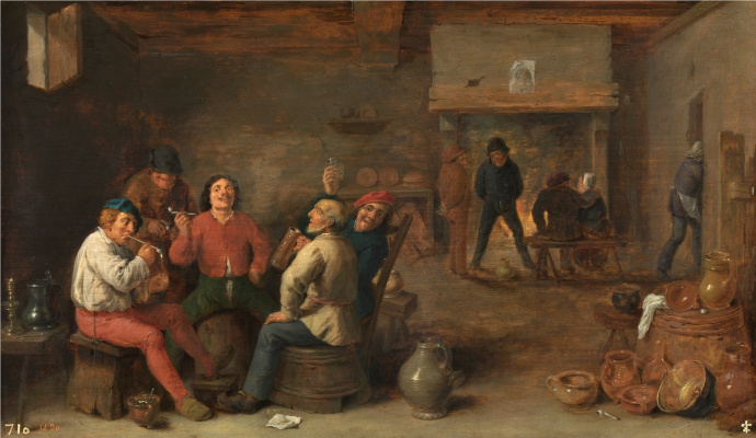 David Teniers the Younger. Smokers in the hotel interior