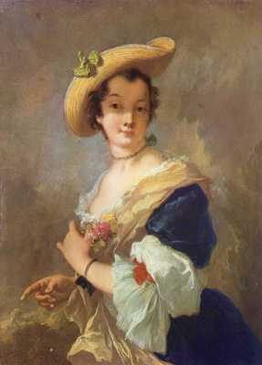 Кристиан Вильгельм Эрнст Дитрих. Портрет дамы в соломенной шляпе