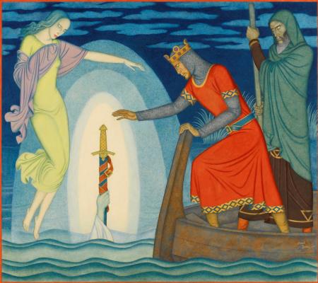 Edmund Dulac. King Arthur finds the sword Excalibur.
