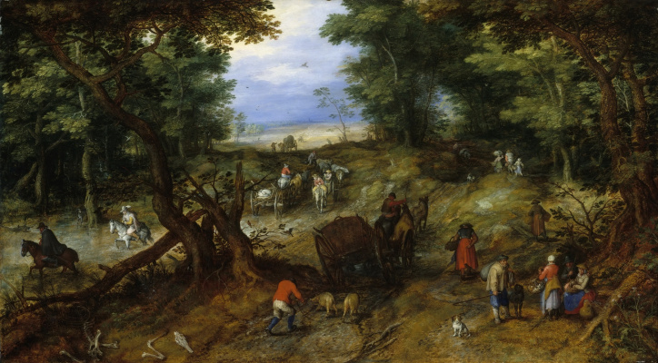 Jan Bruegel The Elder. Forest road with travelers. About 1607