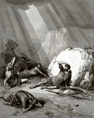 Paul Gustave Dore. Bible Illustration: Saul on the Road to Damascus