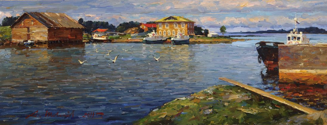 Alexander Shevelyov. Solovki.Bay of well-being.Oil on canvas 28.2 x 73,3 cm 2011