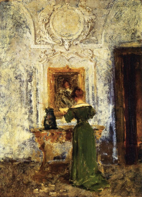 William Merritt Chase. The woman in the green dress