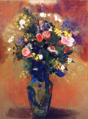 Odilon Redon. Large bouquet of wild flowers