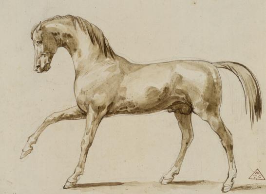 Théodore Géricault. Prancing horse. Sketch