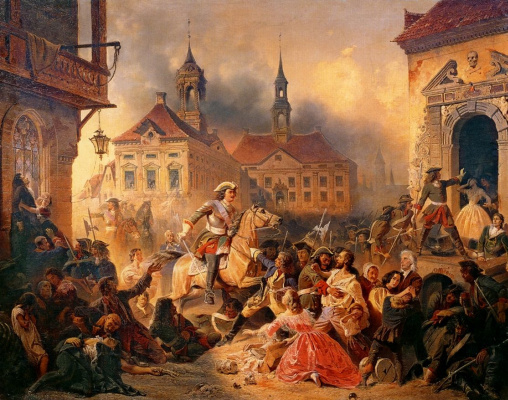 Николай Александрович Зауервейд. Петр I усмиряет ожесточенных солдат при взятии Нарвы в 1704 году