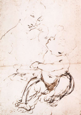 Леонардо да Винчи. Мадонна с младенцем (набросок)