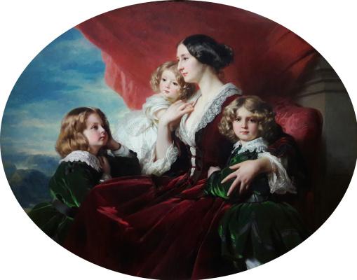 Franz Xaver Winterhalter. Eliza Branicka, Countess of Krasinska, with their children: daughter Mary and sons Sigmund and Vladislav